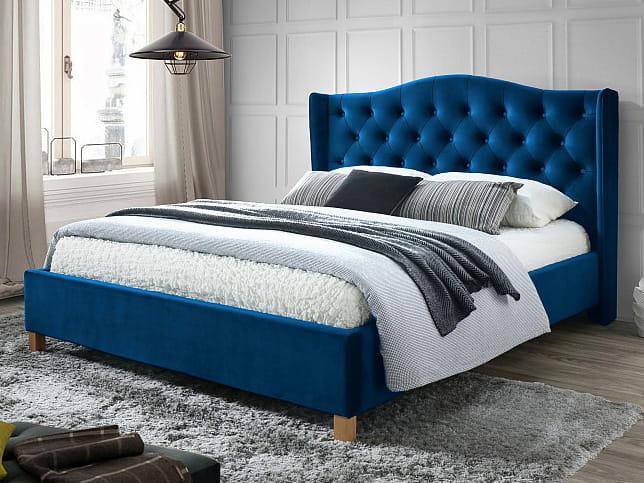 łóżko Aspen Velvet 160x200 Granatowe