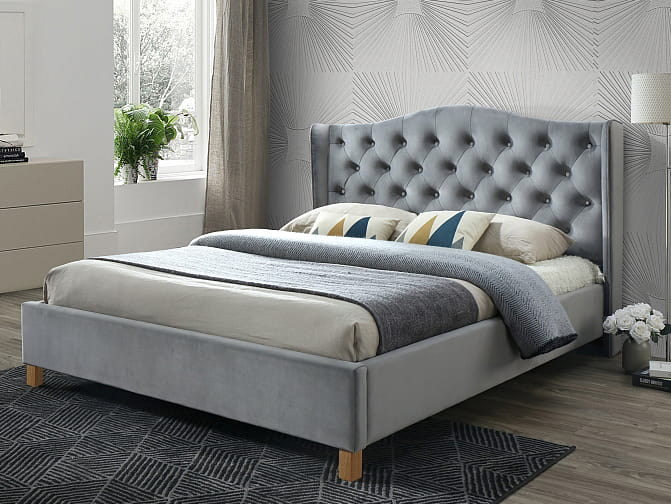 łóżko Aspen Velvet 160x200 Szare
